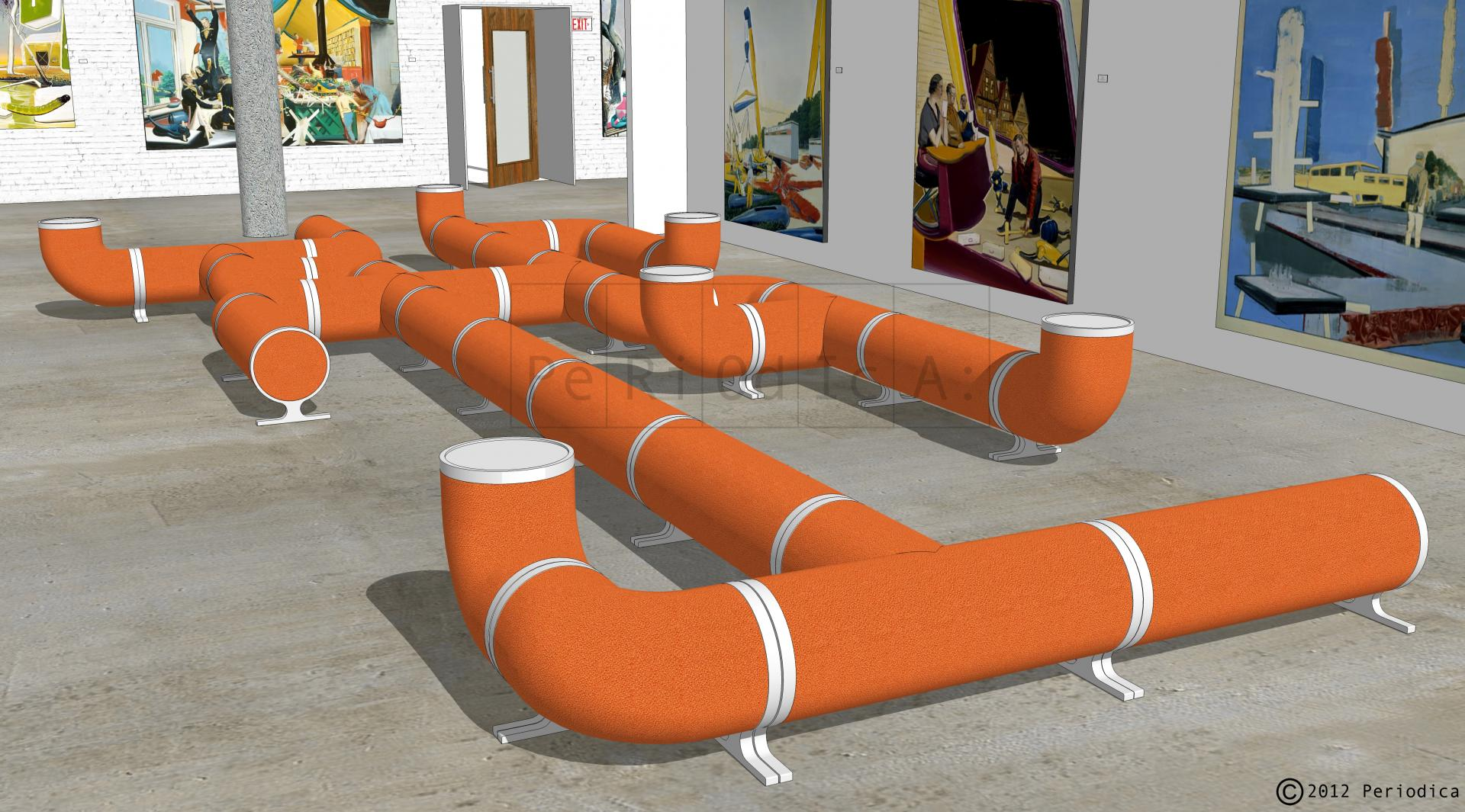 014/ art gallery lounge (seating by Dune NY). art by neo rauch